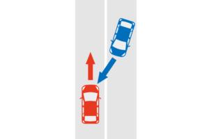 センターラインオーバーの事故状況図
